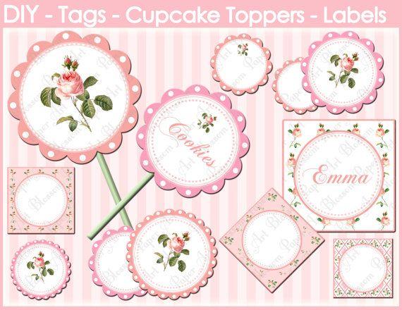 Etiquetas Decorativas para Cupcakes Candy Bar por blossompaperart