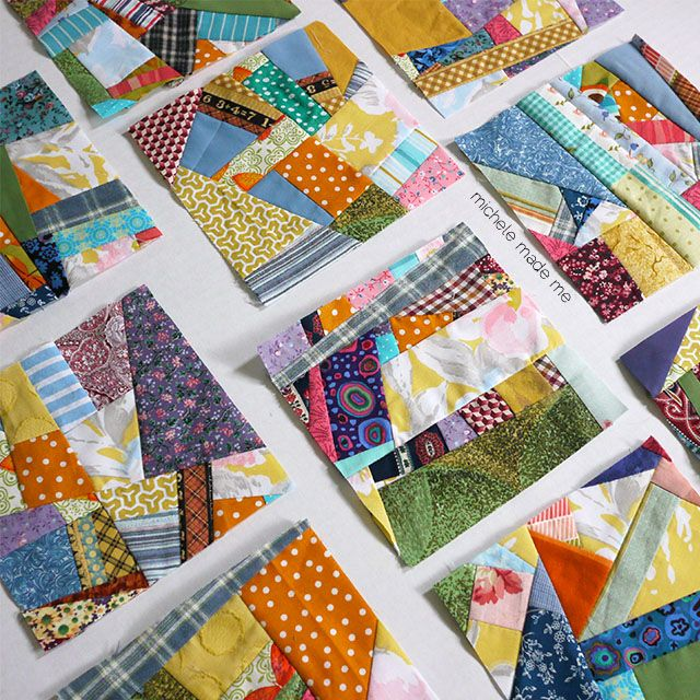 Scrappy quilt squares in random pattern.  Choose a general color theme and sort your scrapes to use them up.