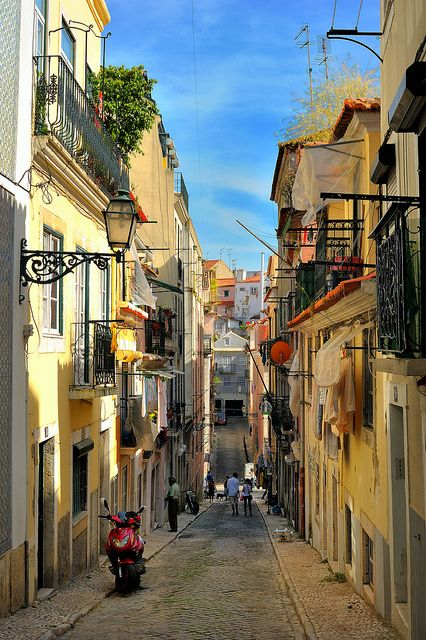 Streets of Bairro Alto in Lisbon, Portugal (by Sunsword  Moonsabre). This one is for Ottavia :)