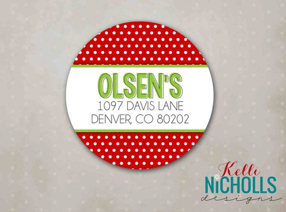 Red lime polka dot christmas return address labels custom sticker