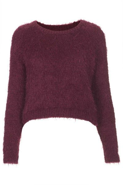 Topshop Berry Purple Knitted Fluffy Crop Jumper NEW Sizes 4 6 8 10 12 14 16 RARE