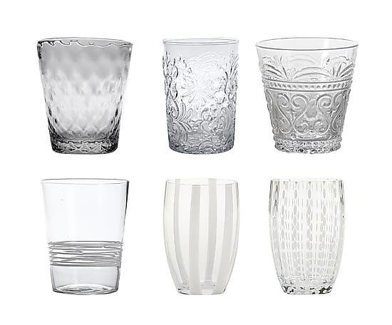 Set di 6 bicchieri acqua in vetro Melting Pot assortiti - trasparente