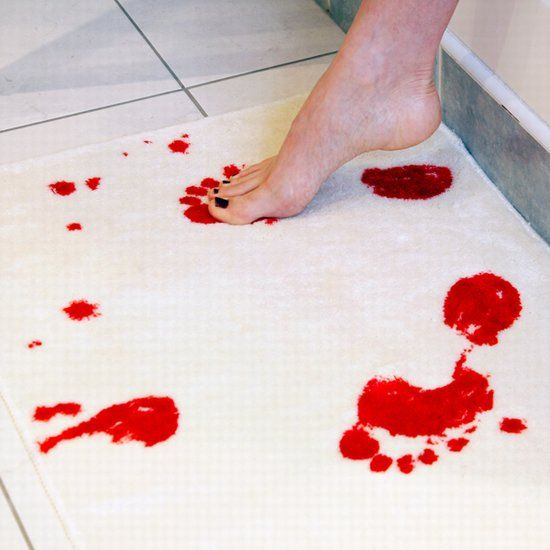 bathmat that turns red when wet and other bloody products.Ideas, Guest Bathroom, Awesome, Funny, Shower, Turn Red, Rugs, Bath Mats, Halloween