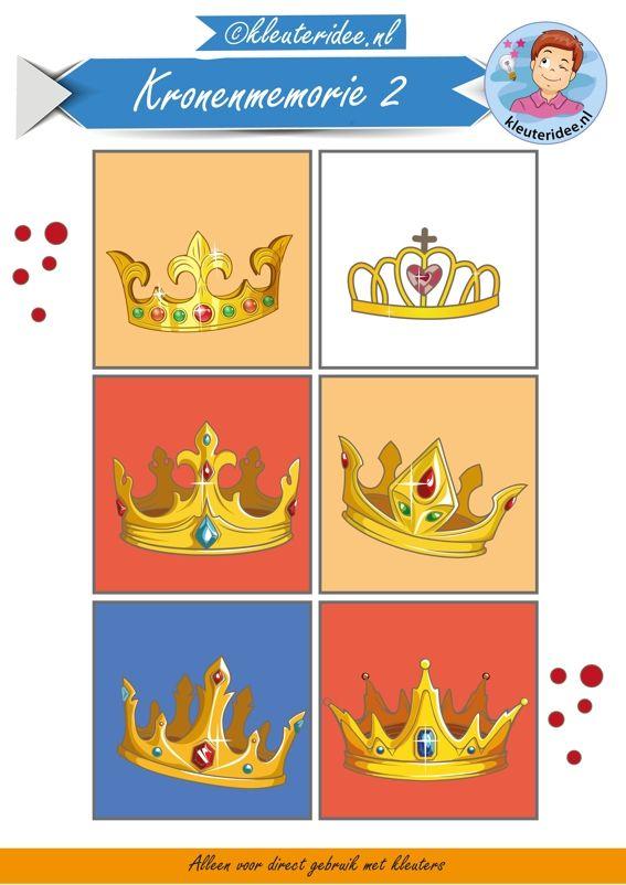 Memorie met kronen bij thema koningsdag 2, kleuteridee,  Crownmemory free printable.