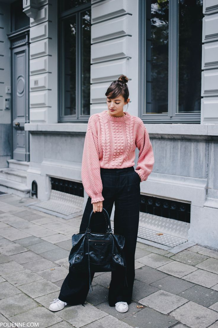 POLIENNE   wearing a H&M cable knit, DRYKORN wool trousers, BALENCIAGA work bag