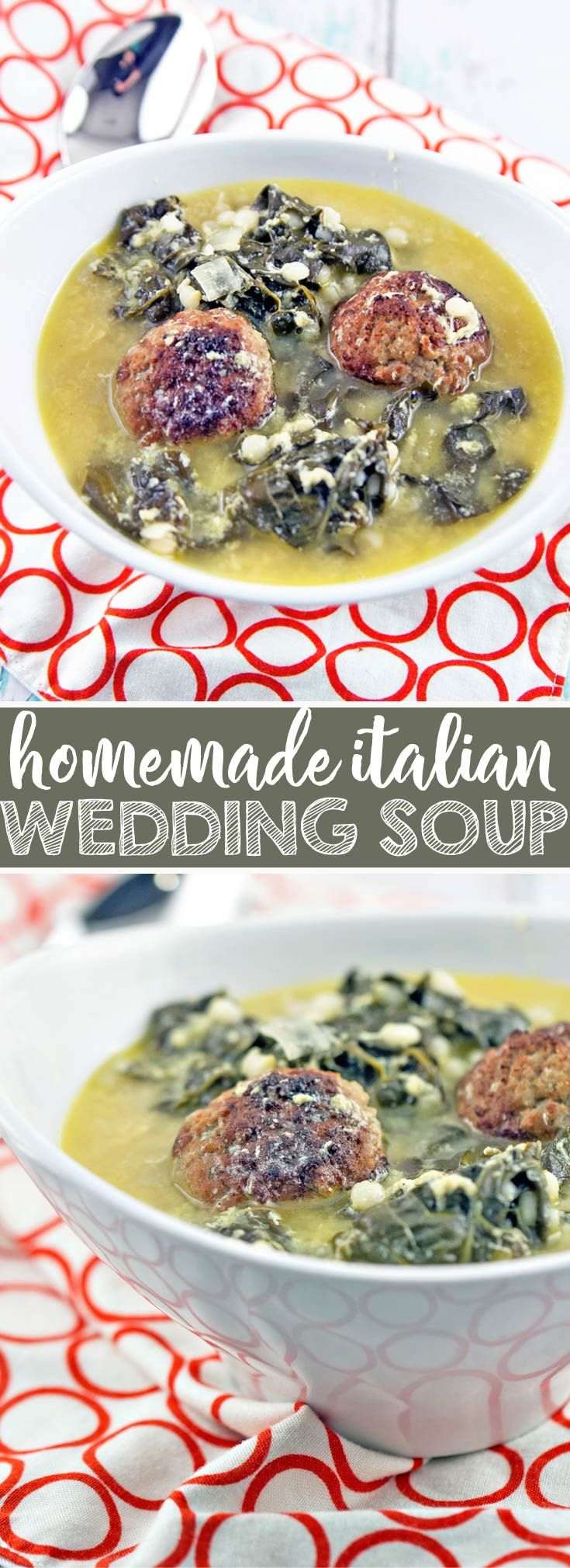 Italian Wedding Soup: a delicious, comforting favorite, made with things already found in your freezer and pantry. {Bunsen Burner Bakery} #soup #italianweddingsoup #meatballs via @bnsnbrnrbakery