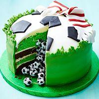 Kids birthday cake   Surprise football cake cake pinata piñata pastel de futbol mundial Brazil world cup chocobolas football soccer