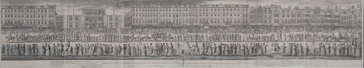 """Antoine Benoist Etching A long panorama of a crowd of spectators gathered on the Strand watching a procession of mock Free-Masons, walking, in carriages and on horse and donkey, parading with trumpets and large signs emblazoned with freemason emblems and imagery. These caricature processions were inaugurated by anti freemason groups as a satire on the Freemason """"Processions of the Craft"""". Below the image is a numbered key:1. The grand Sword Bearer, or Tylor, carrying y e Swoard of / State…"""