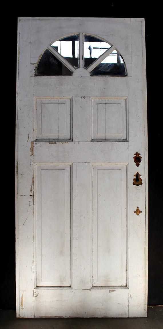 Robust Antique Exterior Door Salvaged From An Old Home Northeastern Massachusetts It Is Made Of Solid Exterior Entry Doors Exterior Doors Half Circle Window