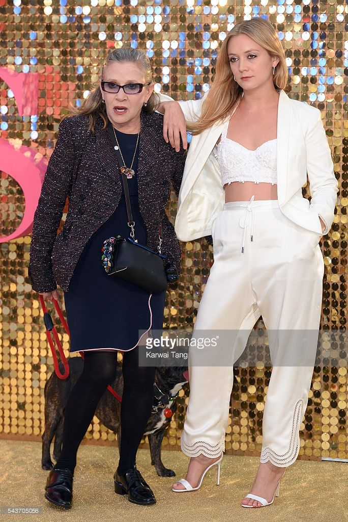 Carrie Fisher and daughter Billie Catherine Lourd attend the World Premiere of 'Absolutely Fabulous: The Movie' at Odeon Leicester Square on June 29, 2016 in London, England.