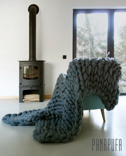 Chunky Knit blanket Chunky wool blanket Knitted by PANAPUFA. Could maybe arm knit this myself