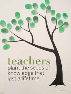 FREE printable Classroom Fingerprint Tree- perfect gift for teacher appreciation. Detalle de la clase a su profesor/a