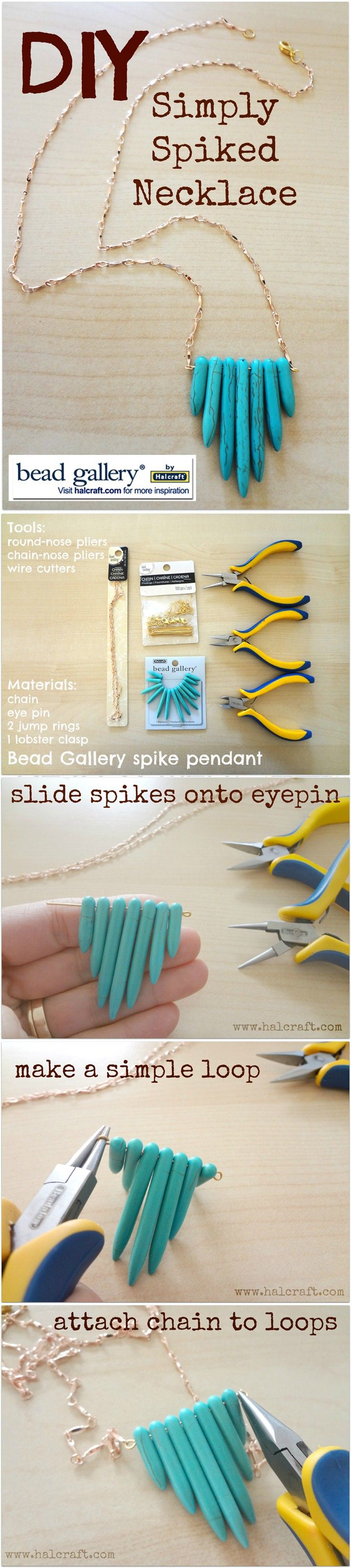 DIY Spiked Turquoise and Chain Pendant Necklace