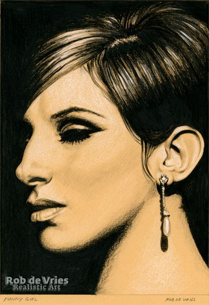"""April 2017, Barbra Streisand """"Funny Girl"""", Charcoal, ink and white chalk on colored paper. 21 x 15 cm. www.robdevries.com"""