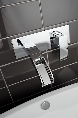RKA17X Wall mounted basin faucet with elongated spout and pop up waste.  brushed nickel also available