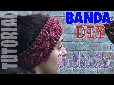 Banda de pelo o Turbante de Lana tejido con Falsos Ochos para Dos Agujas - YouTube