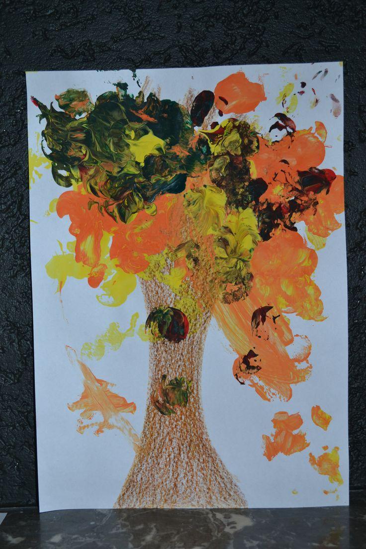Herfst - Fall - stempelen met kurken - knutselen met peuters - Lily-Rose
