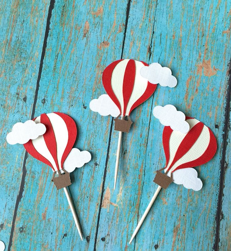 Hot Air balloon cupcake toppers- Hot air balloon birthday, Hot air balloon food pick, First Birthday, baby Shower by SweetLittlePieces on Etsy https://www.etsy.com/listing/226226047/hot-air-balloon-cupcake-toppers-hot-air