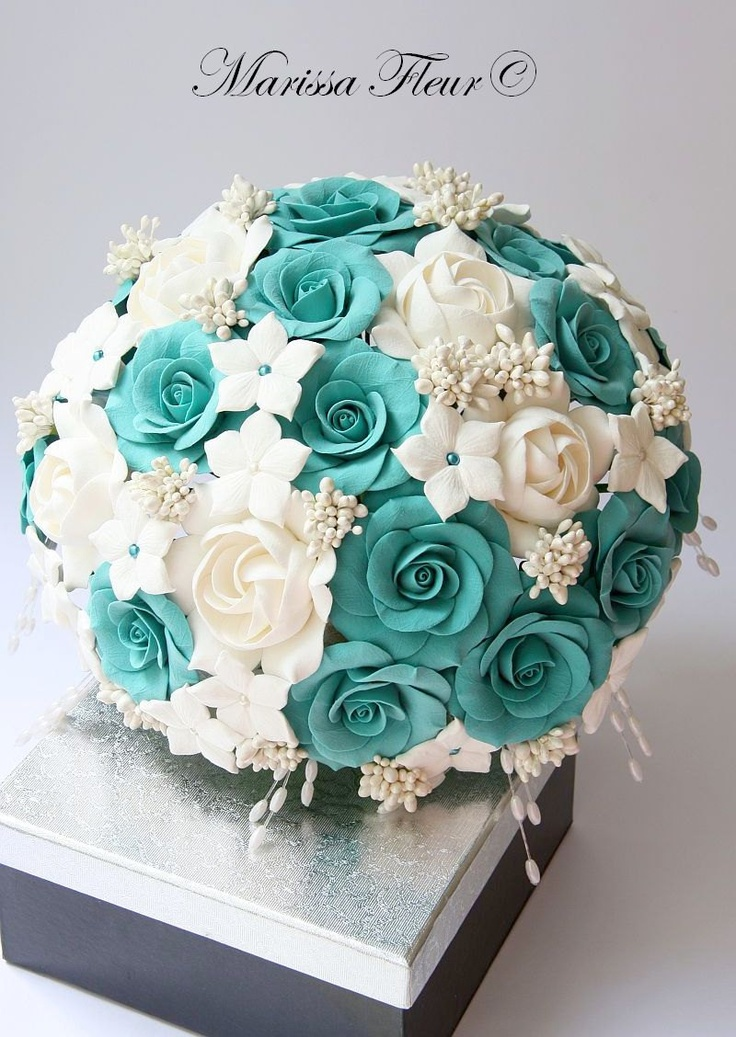tiffany blue and black wedding decorations%0A Bridal Bouquet And Groom u    s Boutonniere  With Turquoise   Aqua Blue Roses   White Gardenias And Stephanotis Flowers   via Etsy