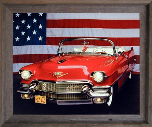 1956 red cadillac with us flag vintage car wall decor barnwood framed picture art print