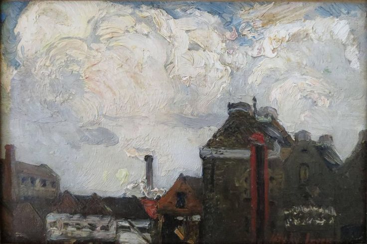 """""""Battersea Warehouse, River Thames,"""" Hayley Lever, ca. 1910, oil in canvas, 6 x 9"""", Ashley John Gallery."""