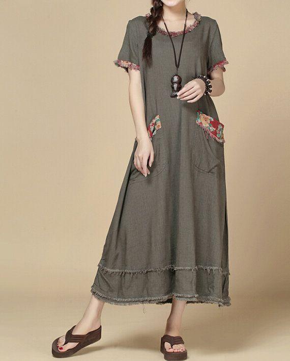 oversize Loose Maxi Dress/ Khaki loose fitting dress/ by MaLieb