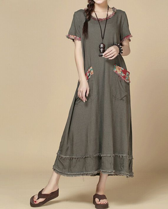 Fabrics; linen, cotton Color; Khaki, fuchsia Size Shoulder 37cm / 14  Bust 102 cm / 40  Sleeve 18cm / 7  Waist 118cm / 46   Length 116cm / 45  Hem 294cm / 115   Have any questions please contact me and I will be happy to help you.