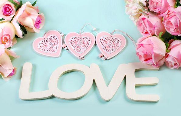 Фото обои розы, сердечки, love, heart, pink, flowers, romantic, petals, roses, розовые розы, pastel