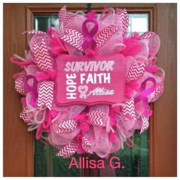 Breast cancer awareness month #wreath #breast #cancer