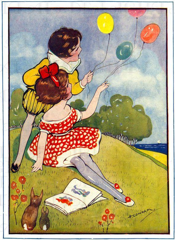 Palloncini belle RARE! Hilda Cowham bambini. Deco VINTAGE bambini illustrazione DIGITALE. Immagine digitale compleanno. Download digitale.