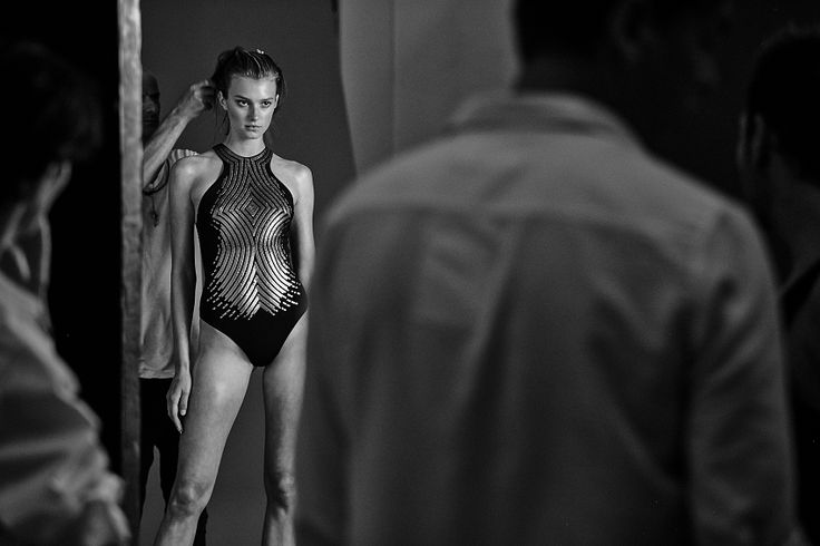 Model Sigrid Agren on set of the S/S15 campaign wearing the Sirene swimsuit.