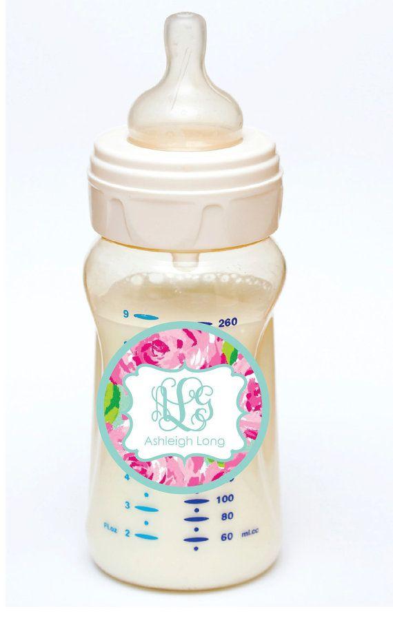 Monogrammed Baby Bottle labels Waterproof by sweetgrassprints