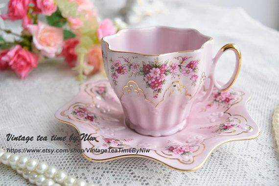 Slavic pink porcelain teacup and saucer, hand painted with delicate roses, gold designs & gilt - Vintage tea cup