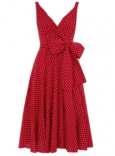 Red dress with white polka-dots