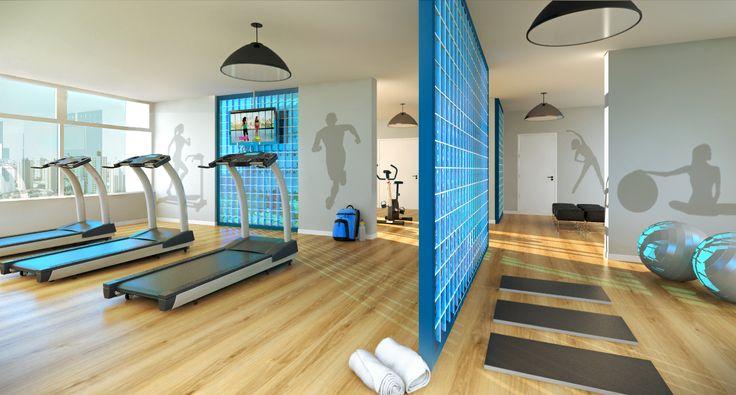 Academia - Para uma vida mais saudável, o The Gate reservou 2 andares de academia completa e aparelhada. #Musculação, #yoga, #lutas, #pilates, #saude #TheGate #TheGateExperience #umpasso #Guarulhos #fitness #exercícios #academia (Perspectiva ilustrada). PROJETO DE WWW.PRICILADALZOCHIO.COM.BR