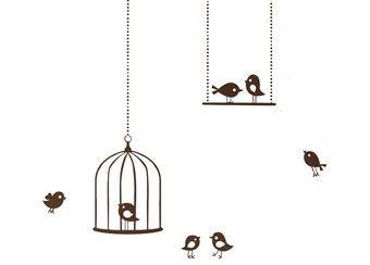 beeldige muursticker 'tweeting birds'
