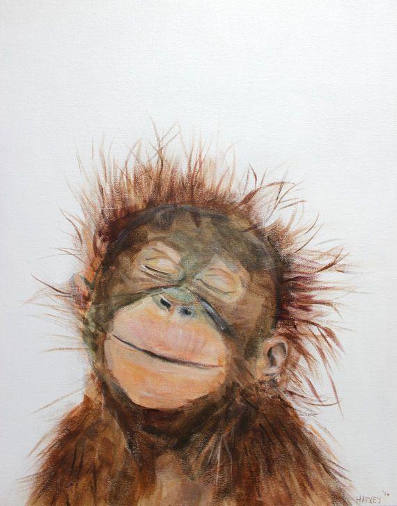 Pequeña impresión de orangután en lienzo por AdorableHarvey en Etsy
