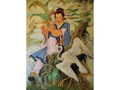 Han Xiang He became a disciple of Lu Dongbin, who took him to heaven to the tree which bore the peaches of eternal life.  However, Han, being clumsy, slipped and started to fall towards the earth. Luckily he became immortal right before he hit the ground (good timing).