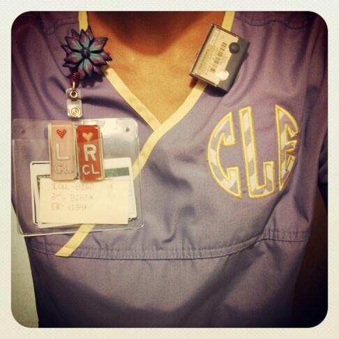 competitor chevron monogrammed scrubs