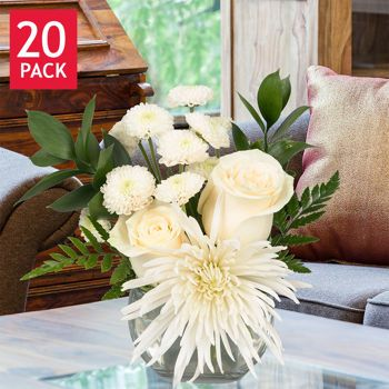 one option from costco! i am also looking at these! White Euro Mini Bouquets - 20 Pack for 139