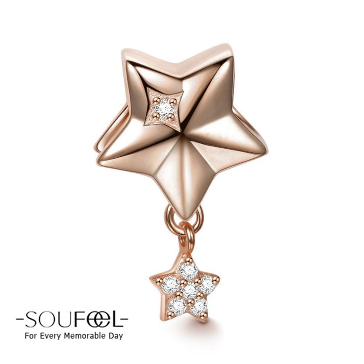 Soufeel Rose Gold Stars Pendant Charm 925 Sterling Silver, for every memorable day. The charm fits all bracelets.