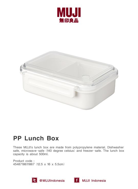 Polypropylene MUJI lunch box. Dishwasher-safe, microwave-safe and freezer-safe. Capacity up to 500ml.