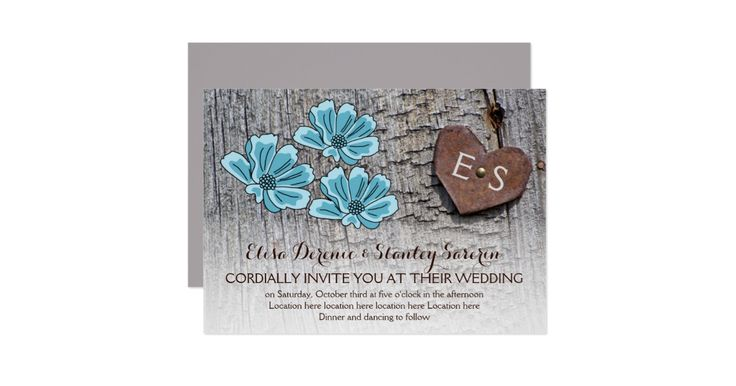 Wild blue flowers, metallic rusted heart with monogram on wood rustic wedding invitation featuring a brown rusted metallic heart with initials nailed on weathered grey barn wood board and three aqua blue wild flowers. This monogrammed floral wedding template design is fully customizable and is part of a wedding set or collection perfect for a spring or summer country barn wedding.