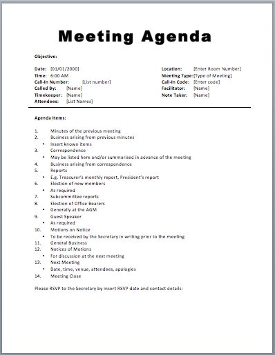 Basic Meeting Agenda Template agenda templates Pinterest - example of agenda for a meeting