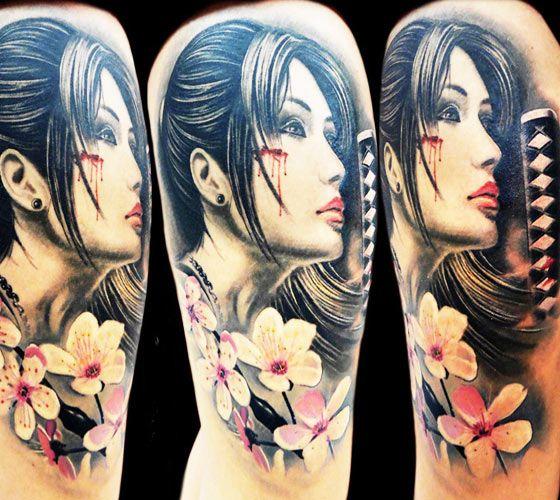 Samurai woman tattoo by tattoo rascal woman tattoo for Female samurai tattoo