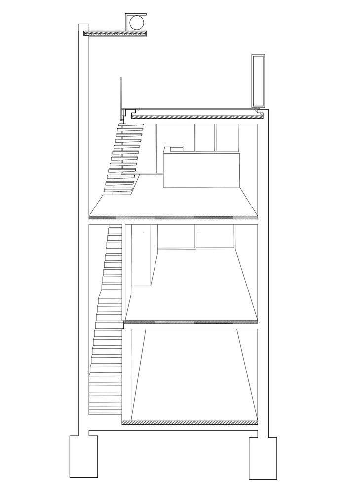 Jauretche House,Perspective Section