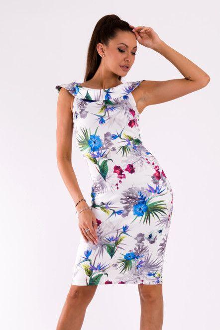 Dámské šaty EMAMODA bez rukávů s motivem květin bílé  0b3bcc7c908