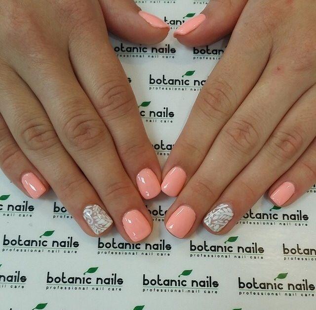 salmon color acrylic nails - Google Search