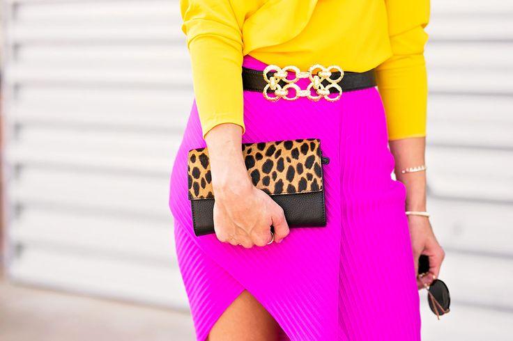 hot pink asymmetrical skirt.