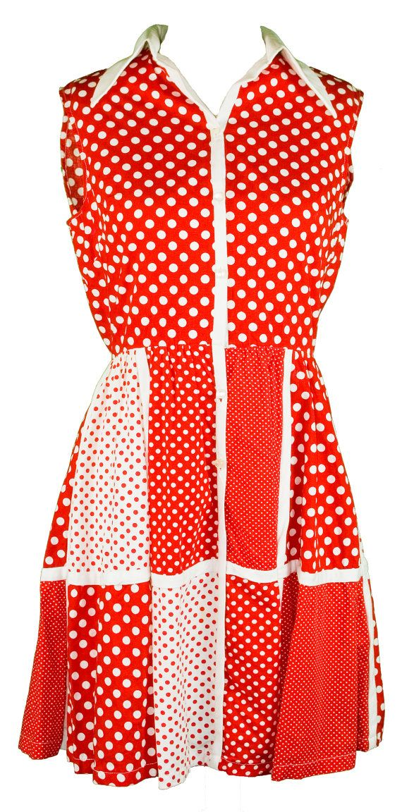1960s Medium Dress Polka Dot Red White Sleeveless Novelty Love Lucy June Cleaver Minnie Mouse Lolita Costume Halloween Square Dance Cowgirl
